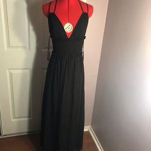 Bebe black smocked strappy GGt Maxi dress